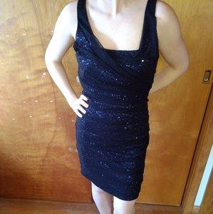 Blue/Black Sequin Mesh Express Dress